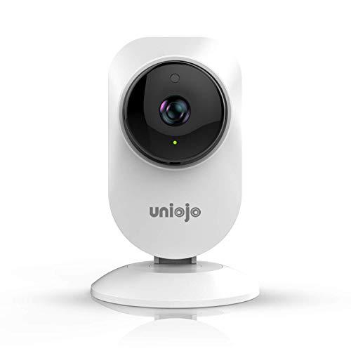 Überwachungskamera, UNIOJO Baby/Haustier Monitor 1080P WiFi Innenkamera, IR Nachtsicht mit Bewegungserkennung, unterstützt TF(Micro SD) Karte und Cloud-Speicherung Mit Server in Frankfurt(Weiß)