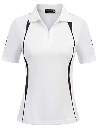 JACK SMITH Women's Outdoor Sport Quick Dry Polo T-Shirt(S,White)