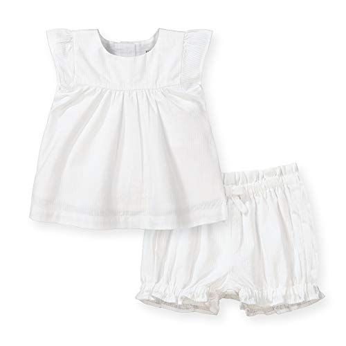 Hope & Henry Layette Baby Girl Woven Flutter Sleeve Swing Top and Ruffle Bloomer 2-Piece Set