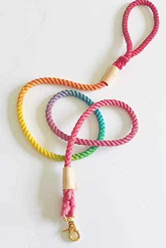 BULPET Eco Friendly Natural Cotton Handmade Dog Ombre Rainbow Rope Leash with Genuine Leather product image