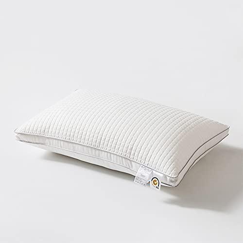DUYH 2 Piezas de Almohada Suave de Alta Elasticidad, Almohada Cervical de Protección Lavable, Almohada Antibacteriana para el Hogar y el Hotel, 47×73cm. (Blanco, Bilateral Estereoscópico)