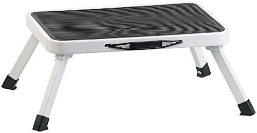 AGT Klapp Tritthocker: Rutschfester Klapptritt aus Stahl, mit Sicherung, belastbar bis 150 kg (Trittstufe)