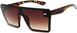 SODIAL Oversize Square Sunglasses Women Fashion Flat Top Gradient Glasses C1 Bright Black Full Gray