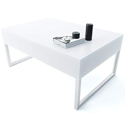 Tavolino da Salotto Sala Pranzo Ingresso Soggiorno Studio Tavolo Basso in Legno Con Gambe In Metallo Cromato Lucido, Design Elegante e Moderno, Tortuguero 90 x 60 x 40 cm (Bianco Lucido Laccato)