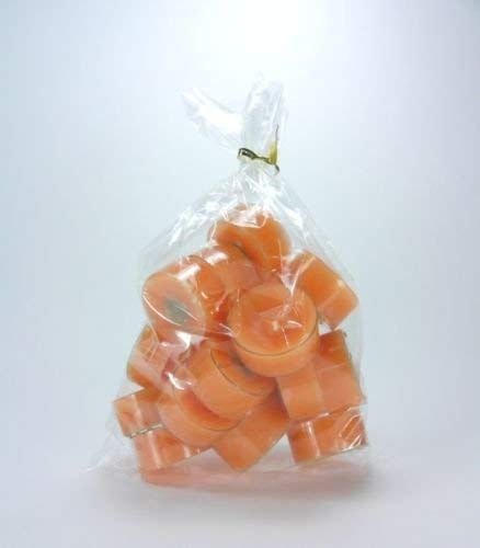 20 original Dänische Teelichter ohne Duft im Acryl-Cup farbig durchgefärbt hell orange