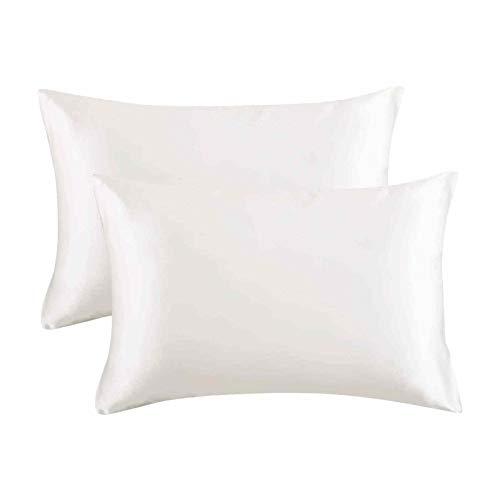 Watopi - 2 fundas de almohada de satén con cierre de sobre, funda de almohada para decoración del hogar, 20 x 26 pulgadas