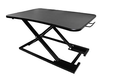 Convertidor de escritorio de pie para sentarse, altura ajustable, elevador de escritorio con plataforma de 73 x 47 cm, compatible con ordenador portátil y monitor de escritorio de PC