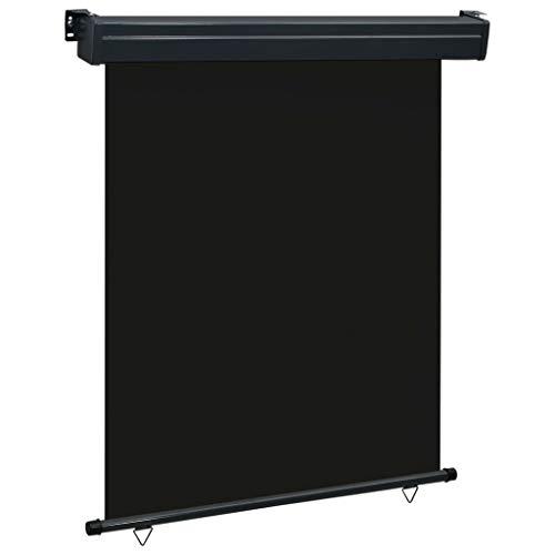 Festnight Balkon-Seitenmarkise 140 x 250 cm Schwarz Senkrechtmarkise Sonnenschutz Sichtschutz Windschutz Markise Außenrollo Balkonrollo