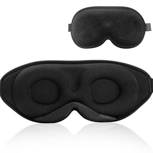Antifaz para dormir para hombres y mujeres, cubierta de ojos contorneada en 3D, máscaras de ojos con luz 100% de bloqueo con correa ajustable, espuma viscoelástica suave y cómoda