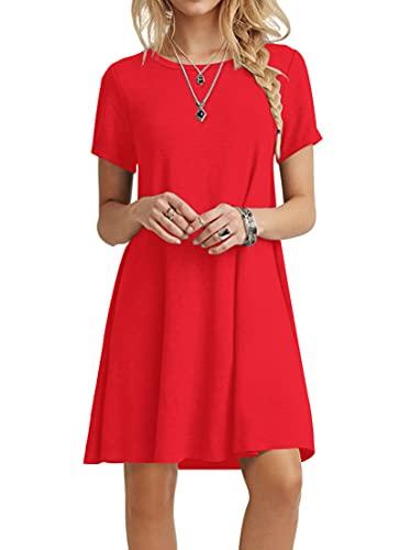 POPYOUNG Women's Casual Summer Dresses Tshirt Beach Dress Medium, Red
