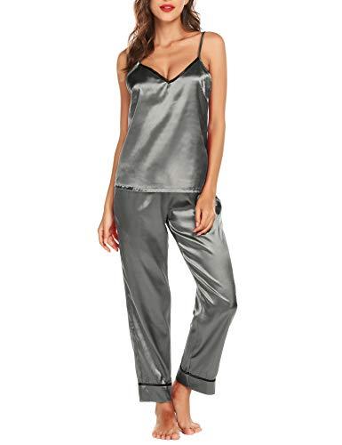 Pyjama Damen Satin Lang Silk V-Ausschnitt Zweiteiliger Hot Top Pyjama Set Schlafanzug Nachtwäsche Grau S