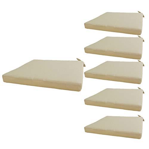 Edenjardi Lot de 6 Coussins de siège pour extérieur Couleur crème  Dimensions: 44x44x5 cm   Imperméable   Déhoussable   Livraison Gratuite