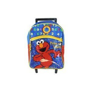 Small Size Blue Time to Lear Elmo Sesame Street Rolling Backpack Luggage