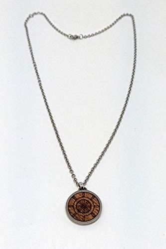 OTTAGONO Collar con colgante redondo Ø 20 mm con madera grabada (ancla, rosa de los vientos, timón) (MIC0003)