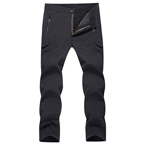 MAGCOMSEN Mens Tactical Pants Waterproof Pants Warm Pants Camping Pants Hiking Pants Snowboarding Pants Winter Pants Black