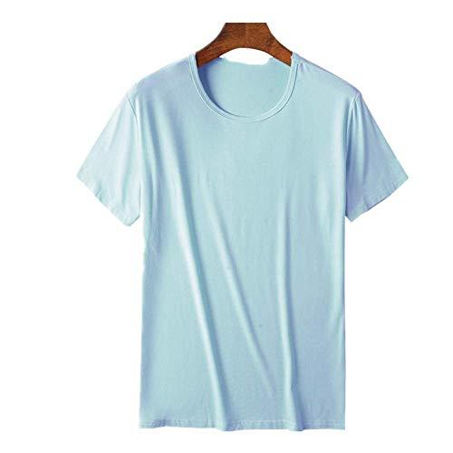 N\P Cómodo cuello redondo de fibra de bambú viscosa camiseta de manga corta para hombre verano turquesa XL