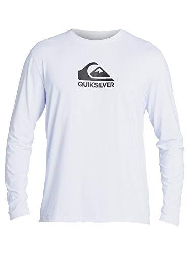 Quiksilver Men's Standard Solid Streak Long Sleeve Rashguard UPF 50 Sun Protection SURF Shirt, White, M
