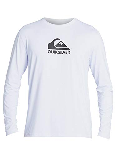 Quiksilver Men's Standard Solid Streak Long Sleeve Rashguard UPF 50 Sun Protection Surf Shirt, White, XX-Large