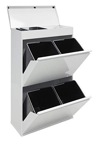 Arregui CR621-B Top Cubo de Basura y Reciclaje de Acero de 4 Cubos y Bandeja Superior Multiusos, Blanco, 97,5 x 58,6 x 24,4 cm