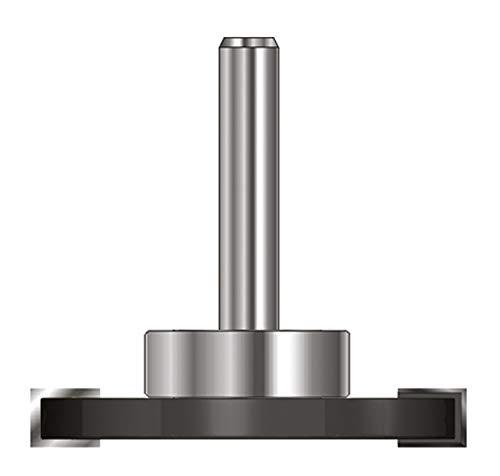 ENT 13972 Scheibennutfräser HW (HM), Schaft (C) 8 mm, Durchmesser (A) 40 mm, B 4 mm, d 19 mm, T 10,5 mm, GL 54 mm, auf Spindel montiert mit Kugellager 19 mm