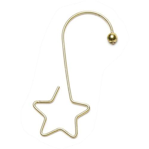 Inge-glas 719000301MO Kugelaufhänger, S-Haken mit Stern, 5 cm, 36 Stück in Box, Gold