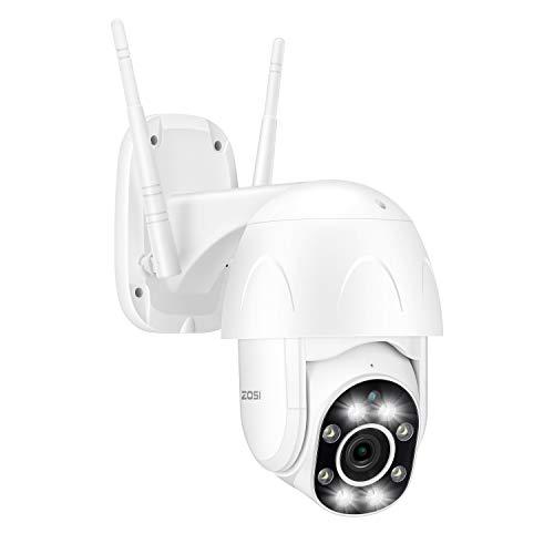 ZOSI 4X Digital Zoom 1080P Außen WLAN PTZ Dome Überwachungskamera mit Zwei Wege Audio 355° Schwenken 90° Neigen, Auto Tracking Smart Personenverfolgung, Mit Flutlicht