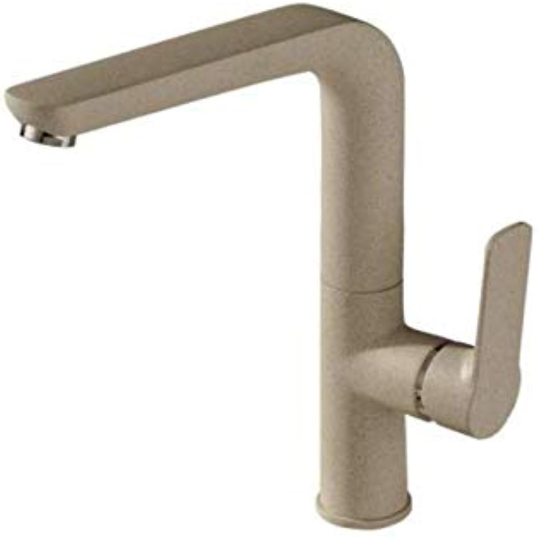 Basin Taps Swivel Spout Faucet Hot and Cold Paint Oat Yellow Kitchen Quartz Sink Faucet