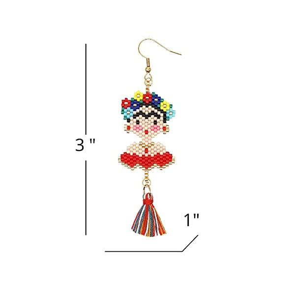 Frida Dangle Earrings – Handmade women's Fashion Cute Beaded Jewelry With Inspirational Display Card The Perfect Mexican Gifts For Women and Teenagers