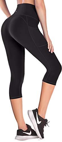 Ewedoos Lift Leggings with Pockets for Women High Waisted Yoga Pants for Women Workout Capri Leggings for Women Black