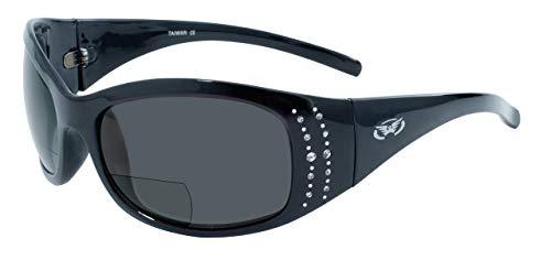Global Vision Occhiali Marilyn 2Serie 1,5ingrandimento Occhiali da Sole con Lenti bifocali, Montatura Nera e Lenti Fumo, Gloss Black Frames And Smoke Lenses