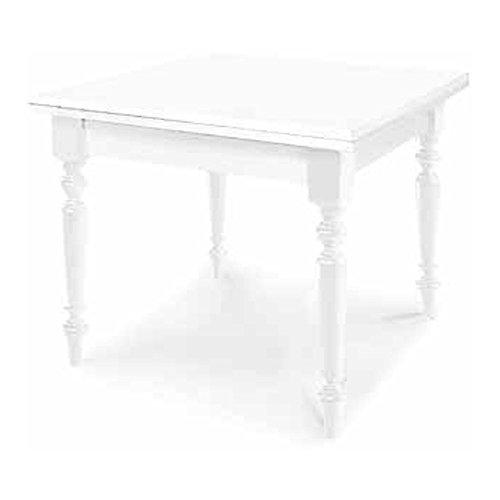 Table Extensible comportant S'ouvre à Rabat, Style Classique, en Bois Massif et MDF avec Finition Blanc Mat - Dim. 100 x 100