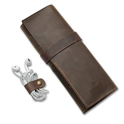 Genuine Crazy Horse Leather Pen Pencil Sleeve Roll Up, Art Accessories Carrier Case, Card Holder Wallet, Keys Holder, Pocket and Travel Organizer with Zipper Pouch and Leather Headphone Clip