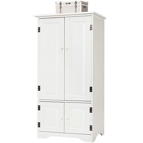 DREAMADE Aufbewahrungsschrank, 4 türiger Standschrank mit 2 verstellbaren Einlegeböden, Mehrzweckschrank für Schlafzimmer, Wohnzimmer, Büro, Küche, 58.5 X 31.4 X 123 cm, antik (Weiß)