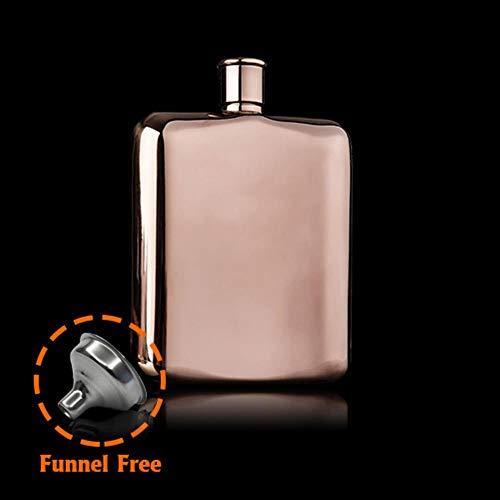 YAOJII Rose Gold 6 oz RVS Vodka Hip Flask voor Alcohol Fles Liquor Whiskey Bottle,6 oz trechter vrij