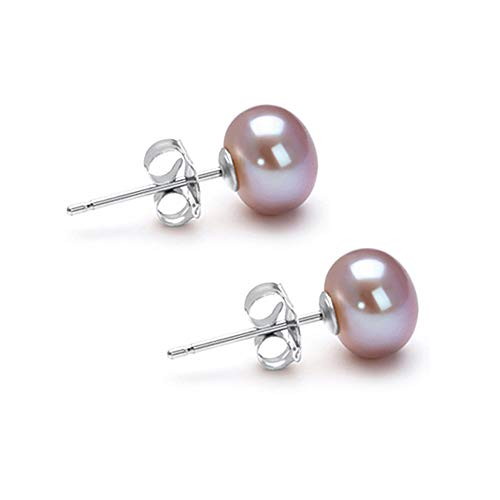 6mm Lavender Freshwater Cultured Pearl Earrings Stud for Women with 925 Sterling Silver Settings and Jewelry Gift Box