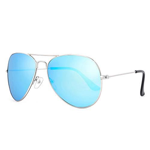 Rocf Rossini gafas de sol de piloto hombre mujer polarizadas retro aviador vogue clasicas súper ligero protección UV400 (plateado/azul)