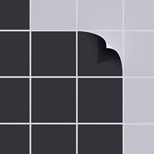incubado 1PLUS Fliesenaufkleber Fliesensticker, 15 x 15 cm, selbstklebend - Fliesenfolie Klebefliesen Fliesen-Folie Fliesensticker für Bad, Küche und Co. (schwarz - glänzend, 300)