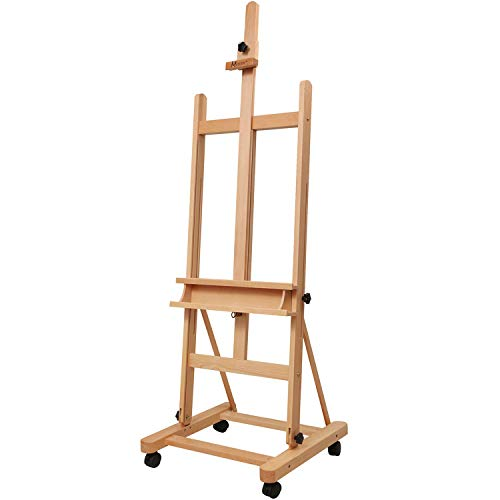MEEDEN Large Studio H-Frame Easel - Solid Beech Wood Artist Easel Adjustable Movable Tilting Easel, Floor Painting Easel Stand, Holds Canvas Art up to 48'