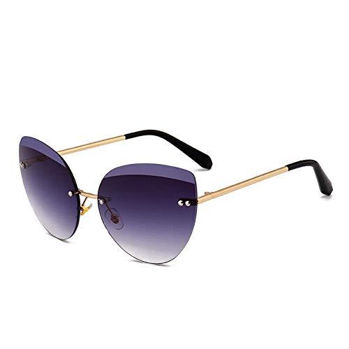 XIMAO zonnebril, zonder frame, Europese stijl, dames-zonnebril, modieus, spiegelend, met kristallen geslepen
