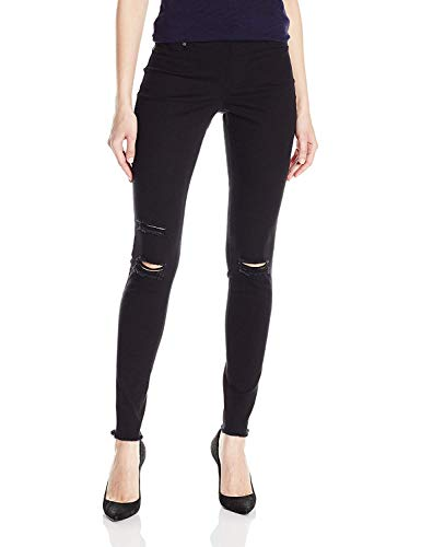 HUE Women's Ripped Knee Denim Leggings, Black, XS