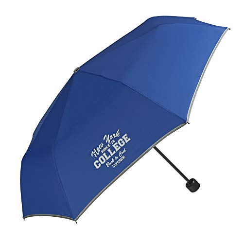 Taschenschirm für Jungen und Mädchen - Regenschirm Kompakt und Sicher mit Reflektierendem Rand - Etui mit Karabiner - 7+ Jahre - Durchmesser 91 cm - Blau - Perletti Cool Kids