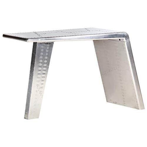 vidaXL Scrivania Aviator Ala Aereo Industriale Scrittoio Tavolo Ufficio Mobile Porta PC Tavolino Argento 112x50x76 cm in Metallo Lucidato