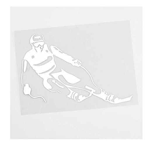 MDGCYDR Pegatinas Coche 13,8 Cm X 10,2 Cm Cool Winter Sport Ski Skier Calcomanía Vinilo Etiqueta Engomada del Coche Negro/Plata