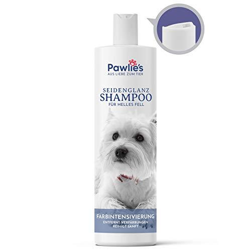 Pawlie's Hundeshampoo weißes Fell - Optimale Fellpflege bei hellem & weißen Fell | Hundeshampoo für Weisse Hunde | Ideal geeignet für Havaneser, Westi, Husky, Pudel, Malteser & helle Hunderassen