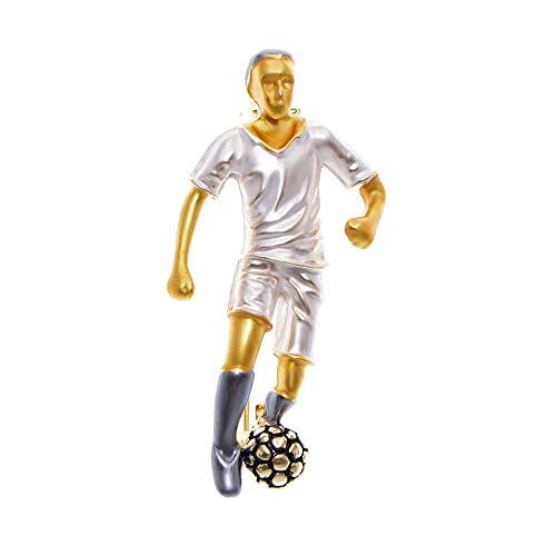 Emaille Fußballspieler Brosche Modedesign Sport Mann Pin Modeschmuck Gutes Geschenk Bekleidungszubehör-Weiß