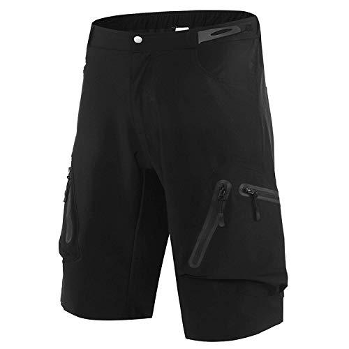 Sportout Herren Mountainbike Biker Shorts, Fahrrad MTB Shorts, Loose Fit Radfahren Ausgebeult Leichte Hose mit Reißverschluss Taschen schnell trocknend (3XL)