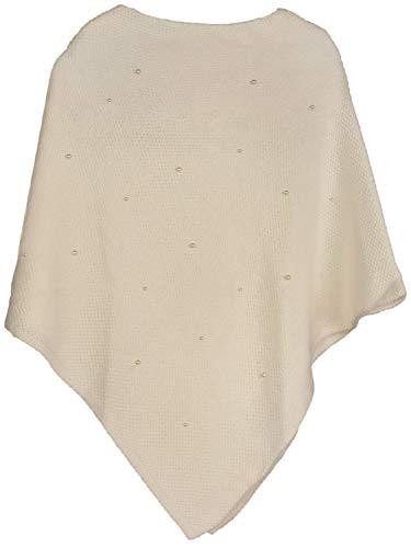 styleBREAKER Damen Feinstrick Poncho mit Perlen Applikation, Rundhals 08010056, Farbe:Beige