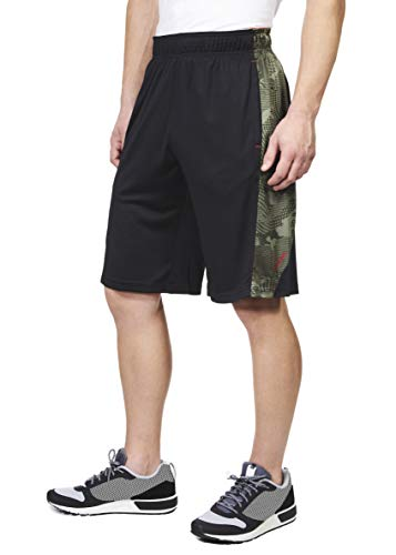 "Spalding Mens Performance Camo Piecing Basketball Shorts, 11"" Inseam Black/Green Camo L"