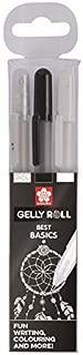 Sakura Gelly Roll - Juego de 3 bolígrafos, color transparente, blanco y negro.