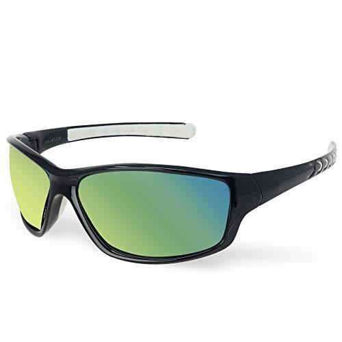 LAGO TERRA Sportive Polarisierte Spiegel Wrap Sonnenbrille - Schwarz